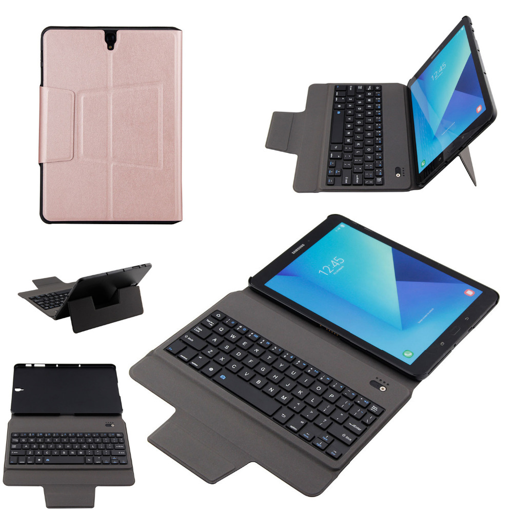 Ultra Slim Wireless Bluetooth Keyboard Case Fold Stand PU Leather Smart Cover For Samsung Galaxy Tab S3 9.7 T820 T825 Tablet ultra thin slim stand litchi grain pu leather skin case with keyboard station cover for lenovo ideapad miix 320 10 1 tablet pc