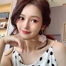 DREJEW Fashion Pink White Flower Pearl Statement Earrings 2019 925 Crystal Drop Earrings Sets for Women Wedding Jewelry HE3721 цены онлайн