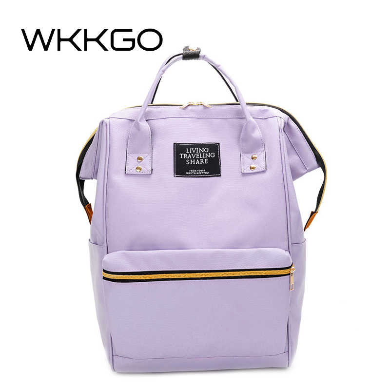 12213e2bc3 WKKGO Casual Canvas Women Backpack Classic Large Capacity Travel Bag  Student School Backpack Girl Shopping Rucksack