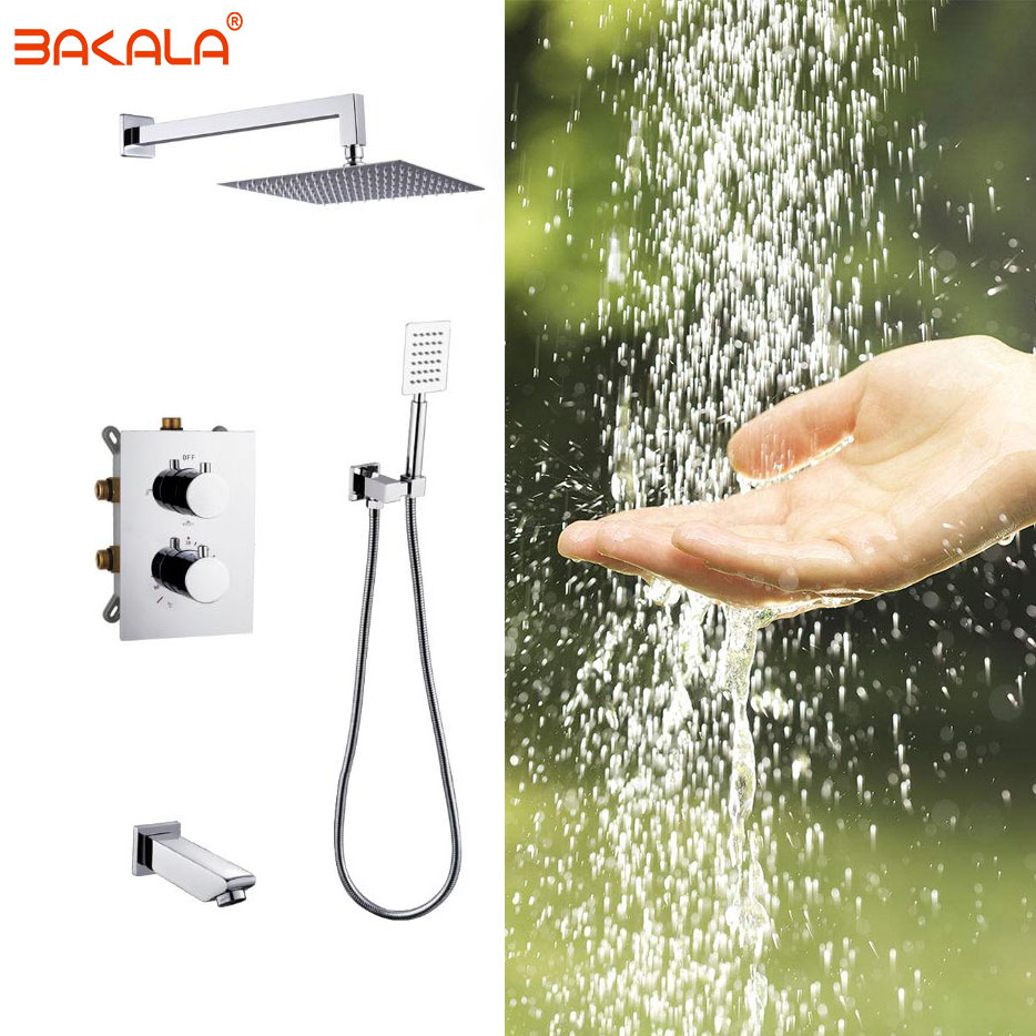 Concealed Mounted MixerBrass Wall Box Mixing Valve Switch Valve Constant Temperature Shower Faucets Thermostatic Chrome 3 Ways
