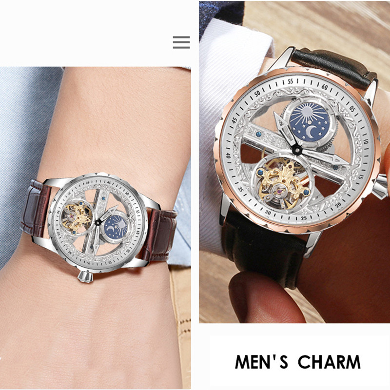 Image 2 - Creative Transparent Men Mechanical Self Winding Watches  Automatic Tourbillon Watch Real Leather Waterproof Montre Moon  PhaseSports Watches