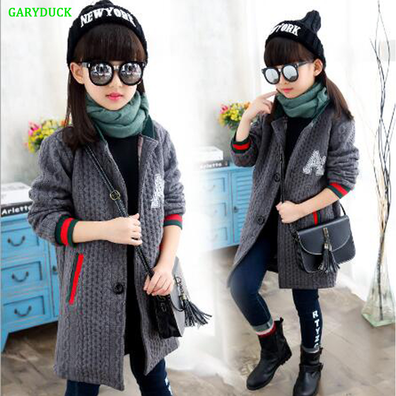 GARYDUCK 2017 Spring Girls Fashion Knitted Cardigan Sweater Coat Children's Clothing Kids Fashion Casual Long Knitwear Jacket