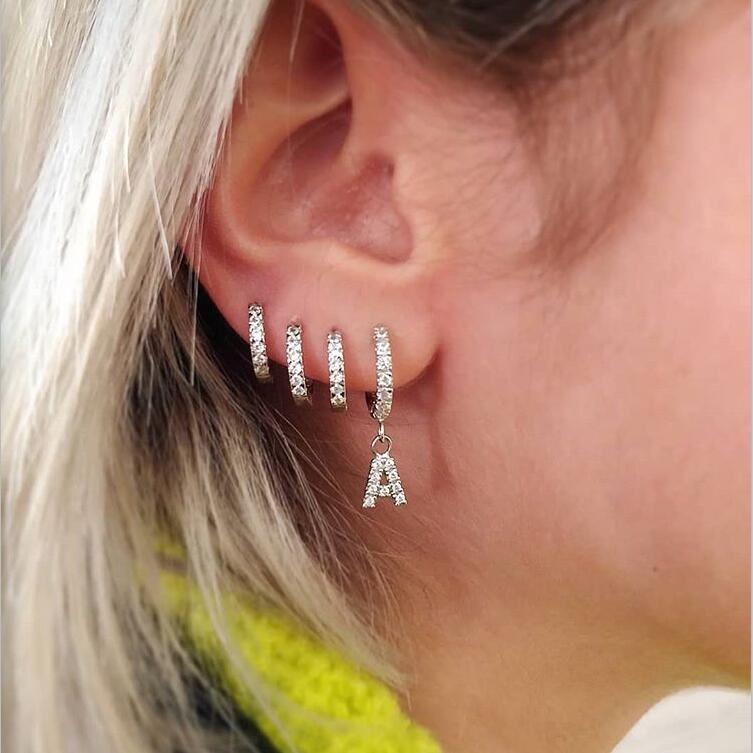 Dangle Earring Alphabet Clear Cz Minimal Z-Initial Letter Paved Personalized-Name To