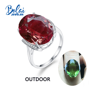 Image 1 - Bolaijewelry,Zultanite rings 925 sterling sliver created Color Change gemstone oval 13*18mm 12.1ct elegant design birthday gift
