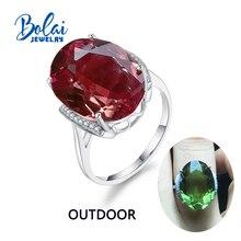 Bolaijewelry,Zultanite yüzük 925 ayar gümüş düzenlendi renk değişimi taş oval 13*18mm 12.1ct zarif tasarım doğum günü hediyesi