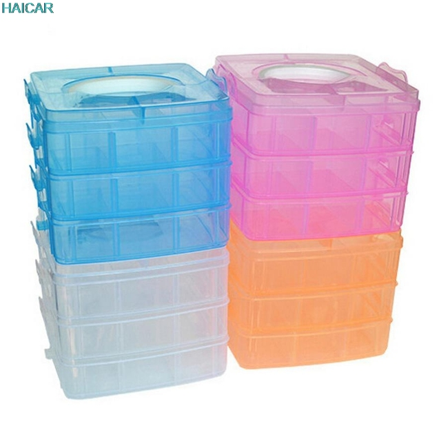 18 grids 3 layers Detachable Portable Clear Plastic Craft Beads