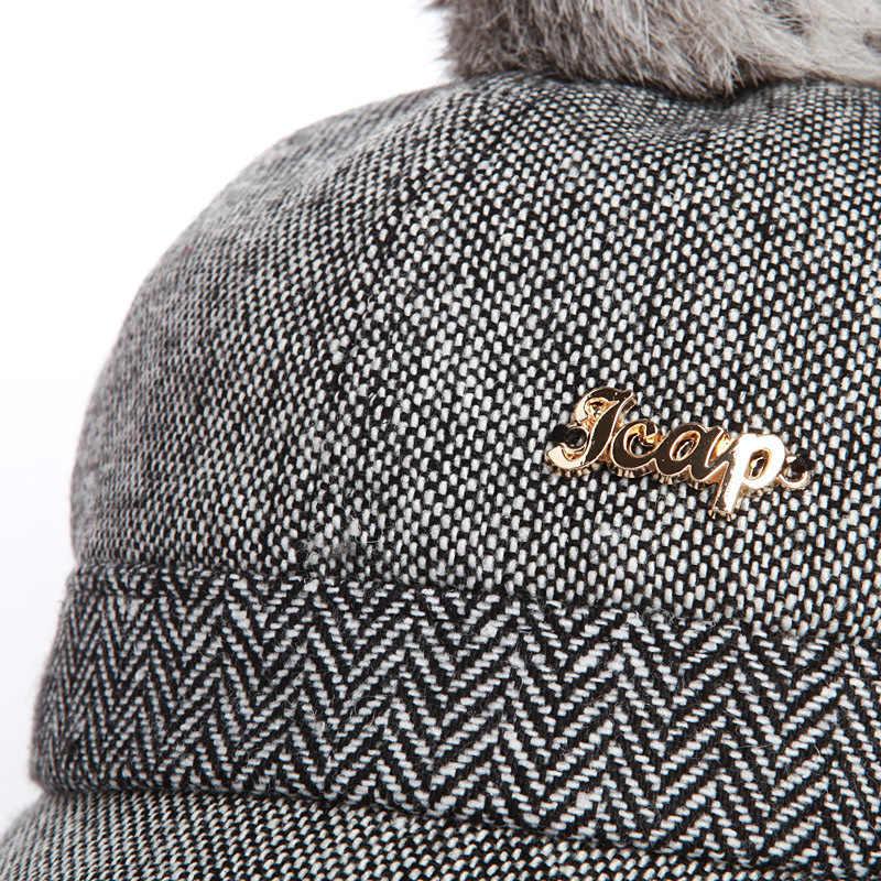 ... Warm Children Winter Baseball Cap 100% Real Rabbit Hair Ball Sports  Golf Hat Kid Winter ... e7389414daf8