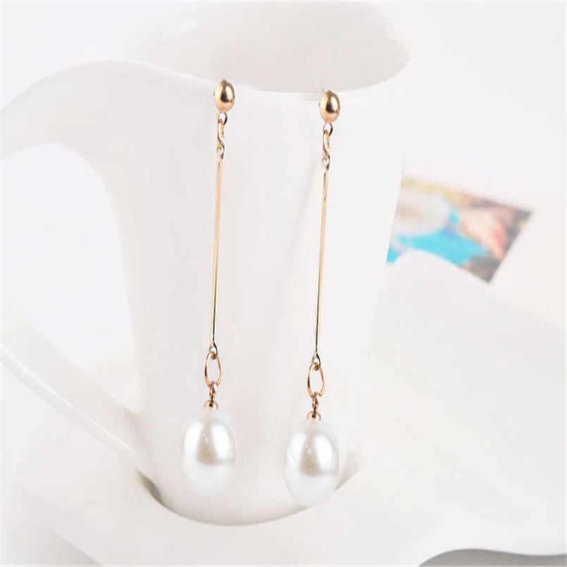 Fashion Bohemian Geometric Earrings Womens Imitation Pearl Ear Stud Pearl Long Dangle Earring10.3