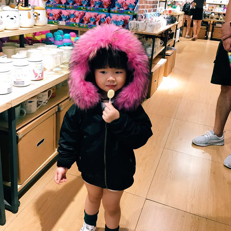 Boys Girls Real Fur Coat Parkas Winter Fur Collar Kids Jackets Coats Removable Fur Liner Children Thick Warm Hooded Outerwear 2017 new baby girls boys winter coats jacket children down outerwear warm thick outdoor kids fur collar snow proof coat parkas