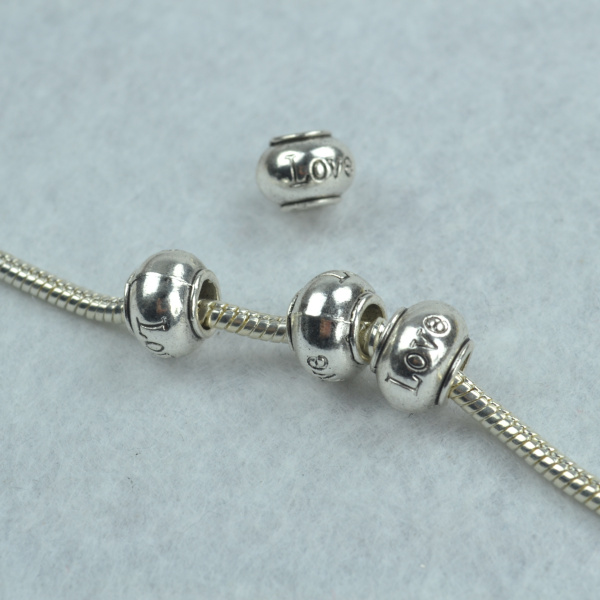 20//50 Pieces 11mm Spacer Beads 26 English Letters Tibetan Silver Bracelet Charms