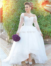 Long Sleeve Scalloped Vintage Asymmetrioal Wedding Dresses With Appliques Bridal Gown NM 440