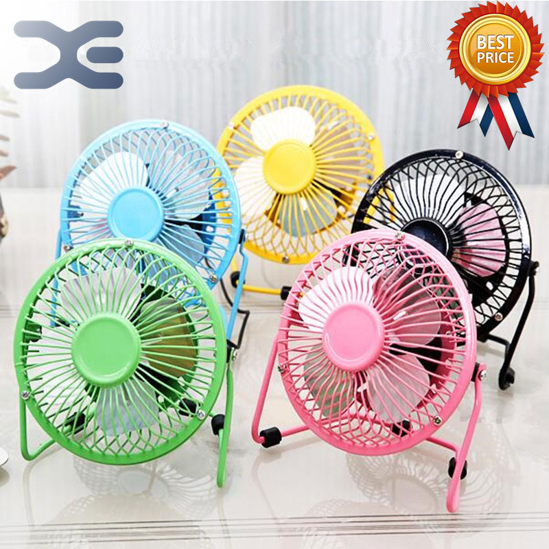 Low Noise Small Fan 5in Mini Fan USB Portable Fan Strong Wind Power Home Office Student Pink Yellow Blue Black Green penguin low noise portable electric fan