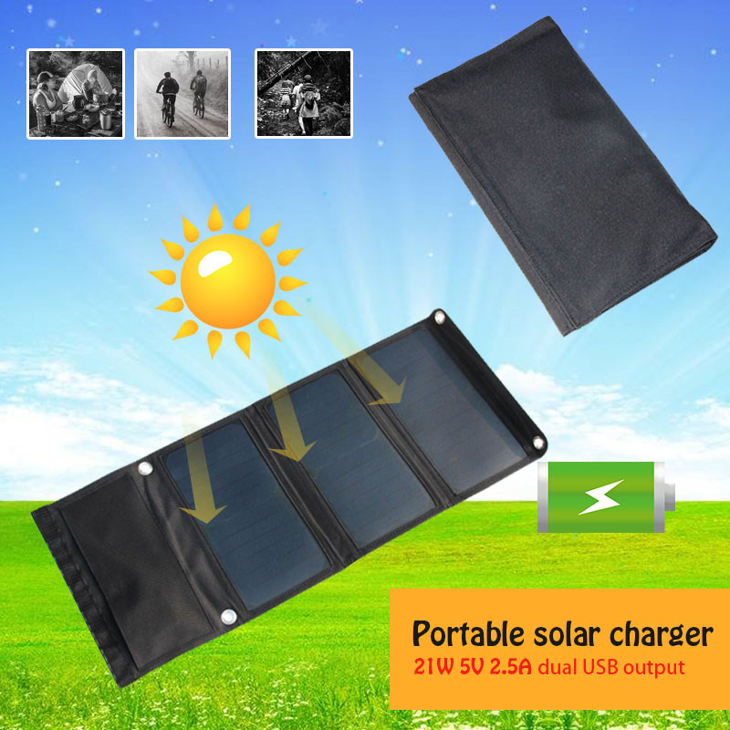 Solar Charger 21W 5V 2.5A Solar Panel With Dual USB Port Waterproof Foldable Solar Cells For Smartphones Tablets Camping TravelSolar Charger 21W 5V 2.5A Solar Panel With Dual USB Port Waterproof Foldable Solar Cells For Smartphones Tablets Camping Travel