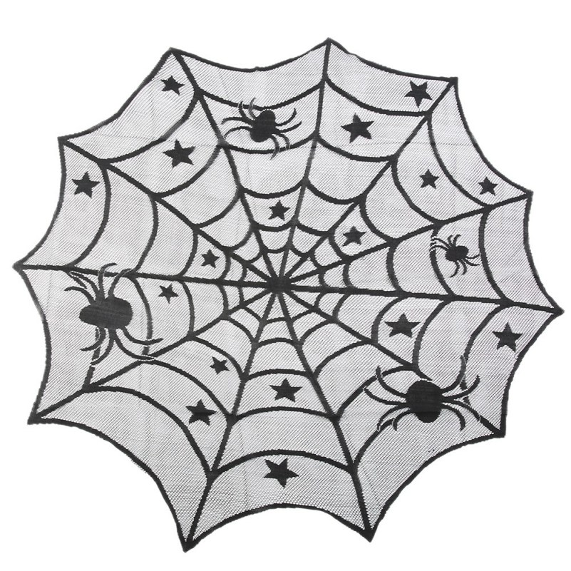 1 pcs lace black spider web halloween tablecloth tablecover rectangle 240120 cm halloween decoration - Spider Web Halloween Decorations