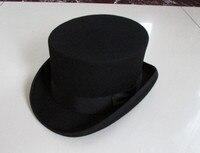 British Style Men Women Wool Fedora Steampunk Top Hat Cylinder Magician Magic Cap Good Package Wool Fedoras Cap 12cm High B 8114