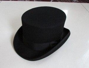 """Image 1 - גברים בסגנון בריטי פדורה צמר נשים Steampunk למעלה כובע צילינדר כובע קסמים קוסם חבילה טובה צמר מגבעות לבד שווי 12 ס""""מ גבוהה B 8114"""