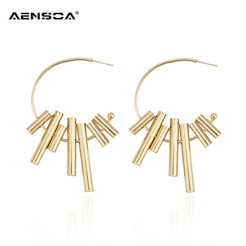 AENSOA золотые модные серьги обруча для женщин и девушек металлические круглые