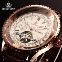 Orkina Tourbillon Zegarki Mechaniczne Mężczyzna Automatyczny auto Wiatr Przejrzyste Świecenia Duże 51mm Twarz Mężczyźni Genuine Leather Wrist Watch