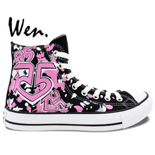 Wen Unique Custom Pink Painted R5 LOUDER Hand Painted Sport Shoes Girls Women's Bottom High Top Flats Canvas Black Sneakers
