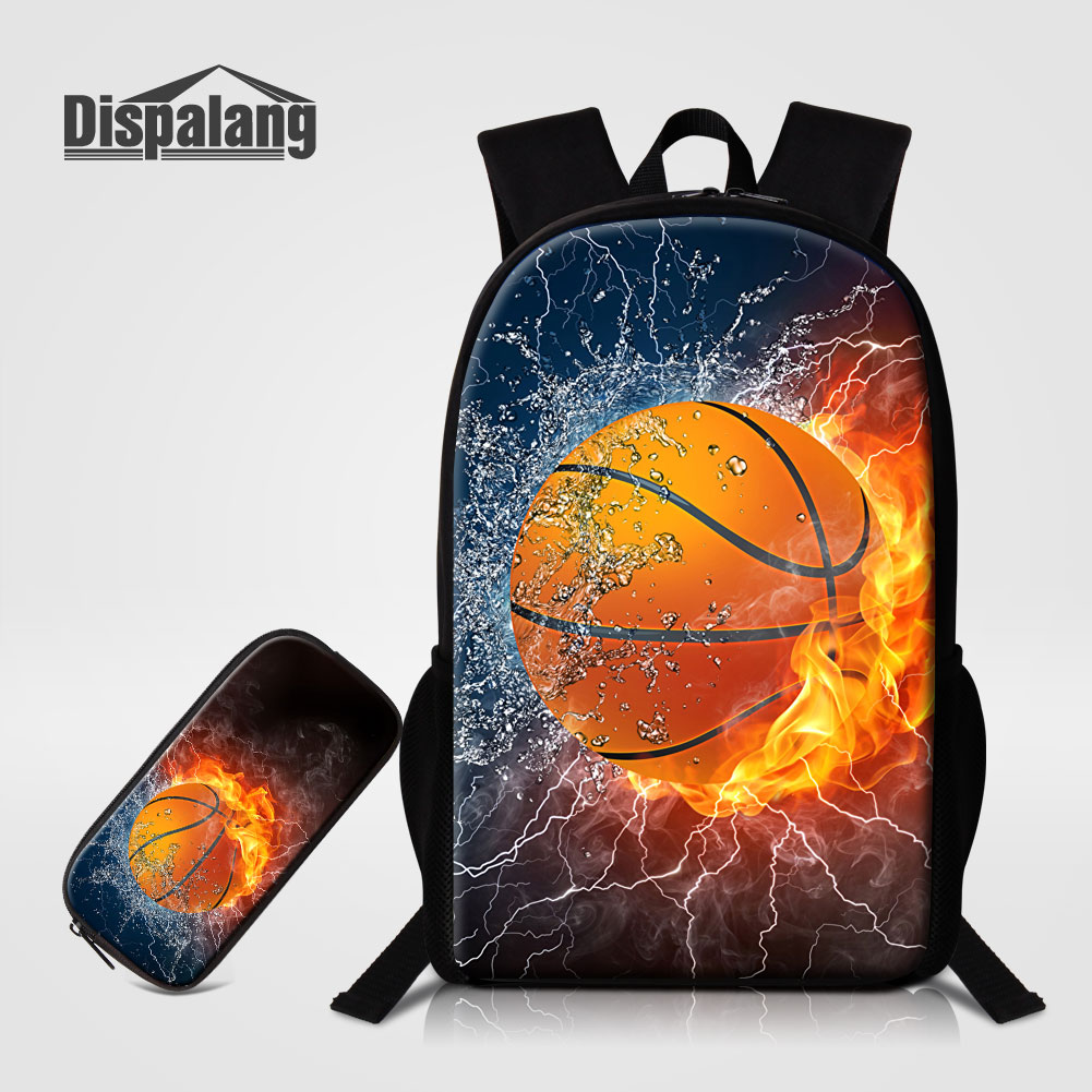 Dispalang Personality Basketballs Printing School Bags For Teenage Boys 2 PCS/Set Backpacks Pencil Case Soccers Mochila Rucksack