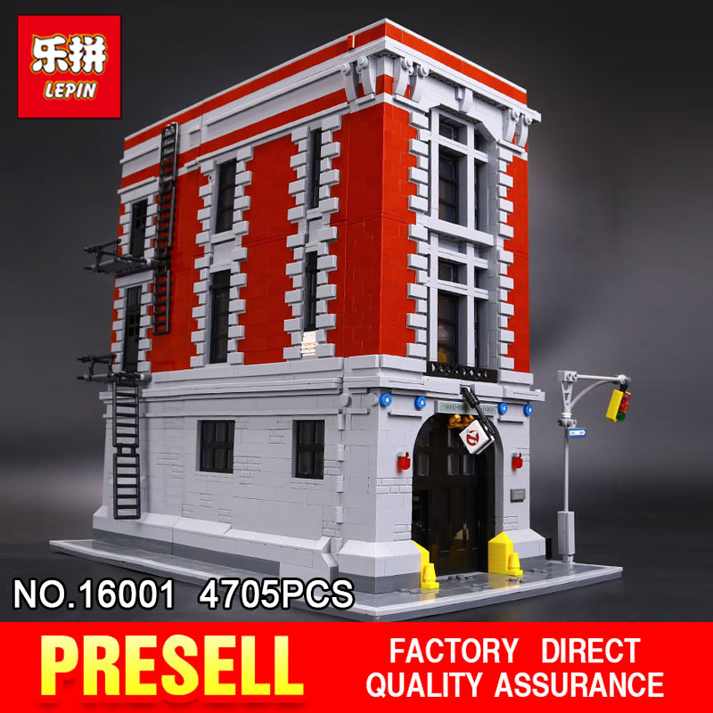 New LEPIN 16001 4705Pcs Ghostbusters Firehouse Headquarters brinquedos Model set Building Kits Model Compatible 75827 lepin 16001 4705pcs city street series ghostbusters firehouse headquarters building block bricks kids toys for gift 75827
