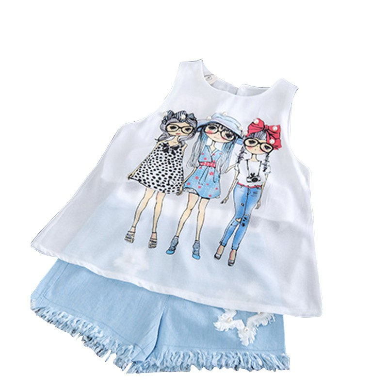 Summer Baby Girl Sets Girls Korean Chiffon Vest Plus Solid Color Shorts Comfortable For Dressing 2018
