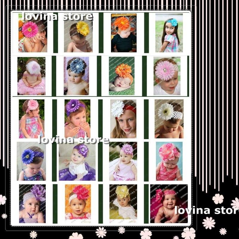 Модная, 120 шт., вязаные повязки на голову+ 120 шт., цветы герберы, ромашки/Детские заколки с бантиками, головные уборы, аксессуары для детей