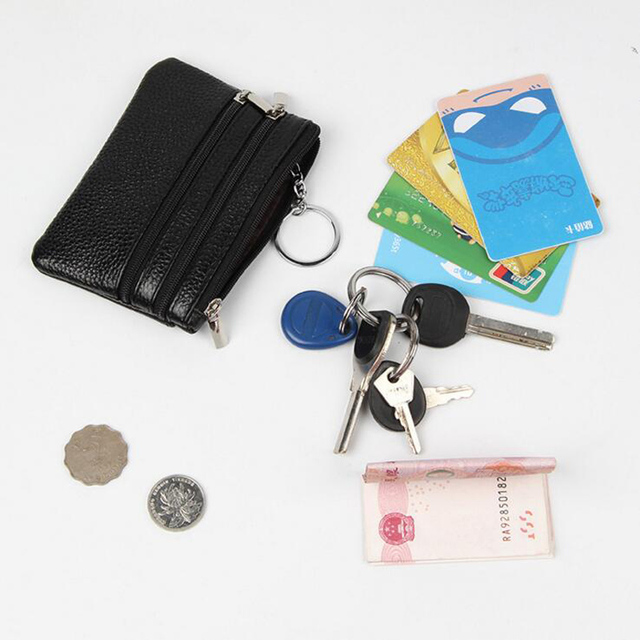 PU Leather Women Housekeeper Portable Business Credit Card Holder Small Key Wallet Coin Pouch Change Money Case Key Ring 3