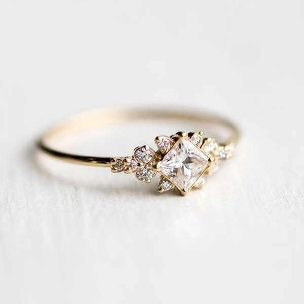 Shayao ตัด Zircon Simple หมั้นแหวนเงินทองสีสัญญางานแต่งงานแหวนแฟชั่นผู้หญิงเครื่องประดับที่ดีที่สุดของขวัญ