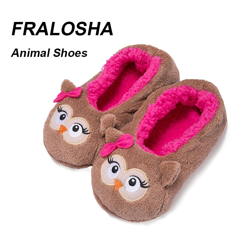 FRALOSHA Dropshipping Warm Flats Soft Sole Women Indoor Floor Slippers/ Animal Shape Black Pink Red Brown Flannel Home Slippers