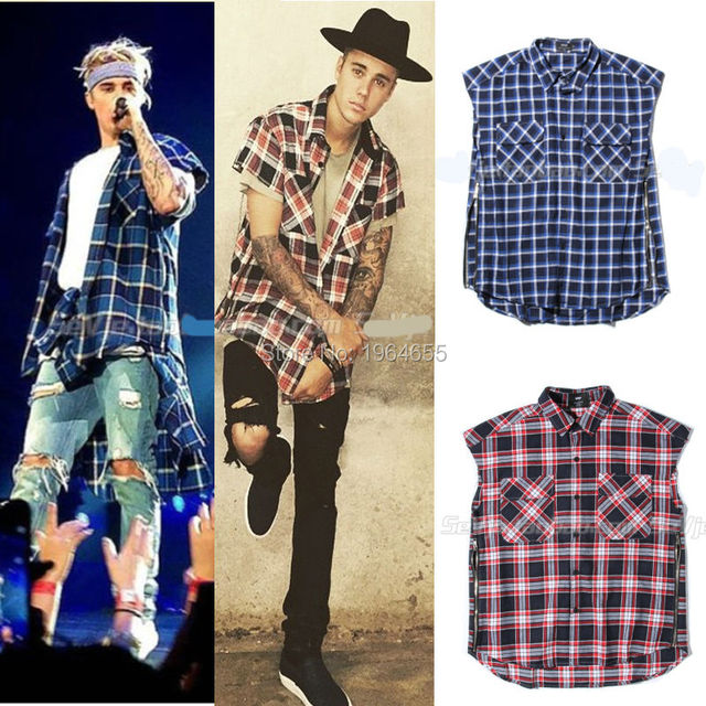... Fashion Casual Blue red plaid Side zipper pocket t shirt from Reliable