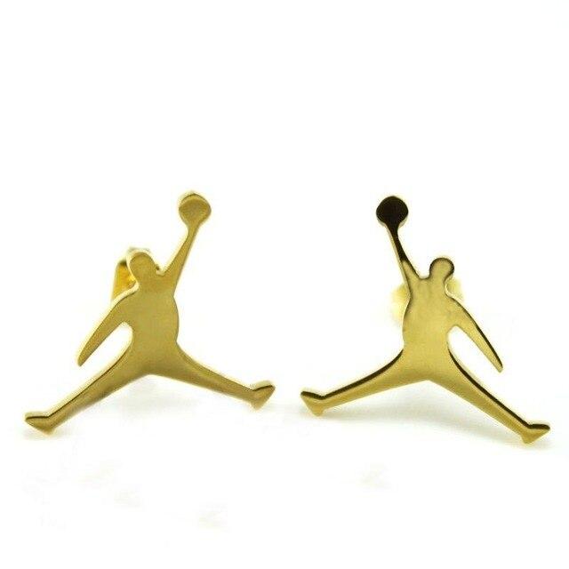 1pair Hot Unisex Stainless Steel Cute Jordan Jumpman Logo Earrings