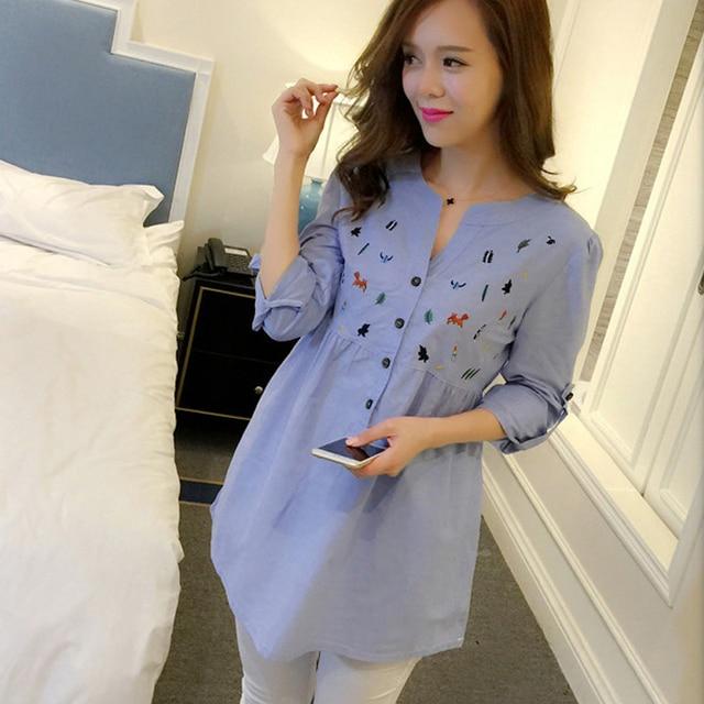 59ee7776e 2016 Maxi Blusa Vestidos de Ropa de Maternidad Embarazo Tops Tees Ropa Azul  de Manga Larga