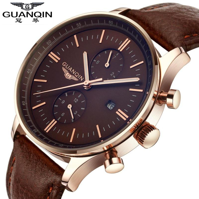 ФОТО Relogio Masculino GUANQIN TOP Luxury Brand Watch Men Luminous Quartz Watches  Leather Sports Watch Waterproof Wristwatches Clock