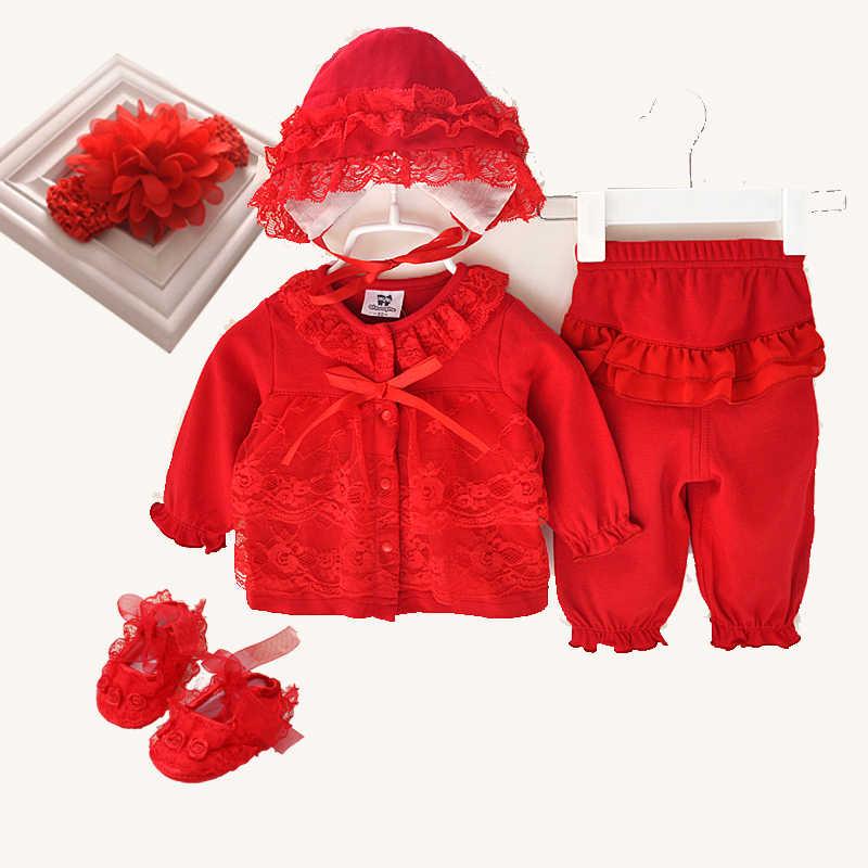 Милый комплект одежды для новорожденных девочек из 3 предметов, 1 день рождения, новинка 2017 года, стильная одежда для малышей, детская шапка, обувь, повязка на голову, Кружевной Костюм для малышей 0-12 лет