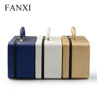 FANXI High Quality Leather Jewelry Box Handmade Travel Three Layers Jewelry Organizer Storage Case Holder For Girl Lady