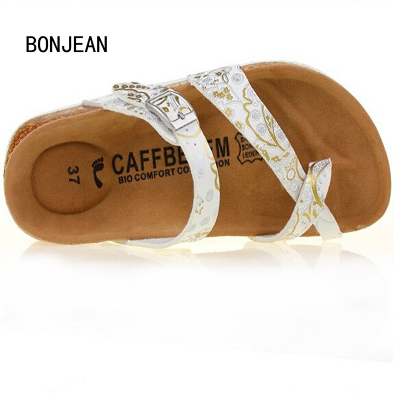 Summer Women Sandals Shoes Flats Cork Slippers Fashion Casual Beach Shoes Print Mixed Colors Slides Flip