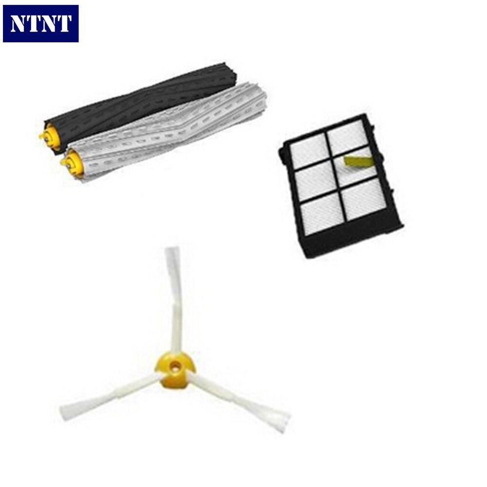 NTNT 1 set Tangle-Free Debris Extractor Brush +1 Heap filter +1 side brush for iRobot Roomba 800 Series 870 880 Vacuum Cleaner