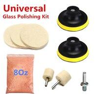 9Pcs Set Glass Polishing Kit Glass Scratch Removal 8 Oz Cerium Oxide And 3 Bobs