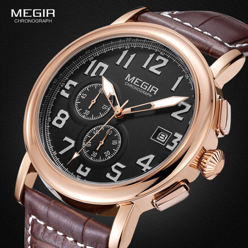 Megir Mens Chronograph Luminous Quartz Wrist Watches Fashion Waterproof Brown Wristwatch with Leather Strap for man 2031 все цены
