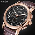 Megir Mens Chronograph Luminous Quartz Wrist Watches Fashion Waterproof Brown Wristwatch with Leather Strap for man 2031