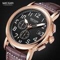 Megir cronógrafo luminoso reloj de cuarzo relojes de moda a prueba de agua brown reloj con correa de cuero para hombre 2031