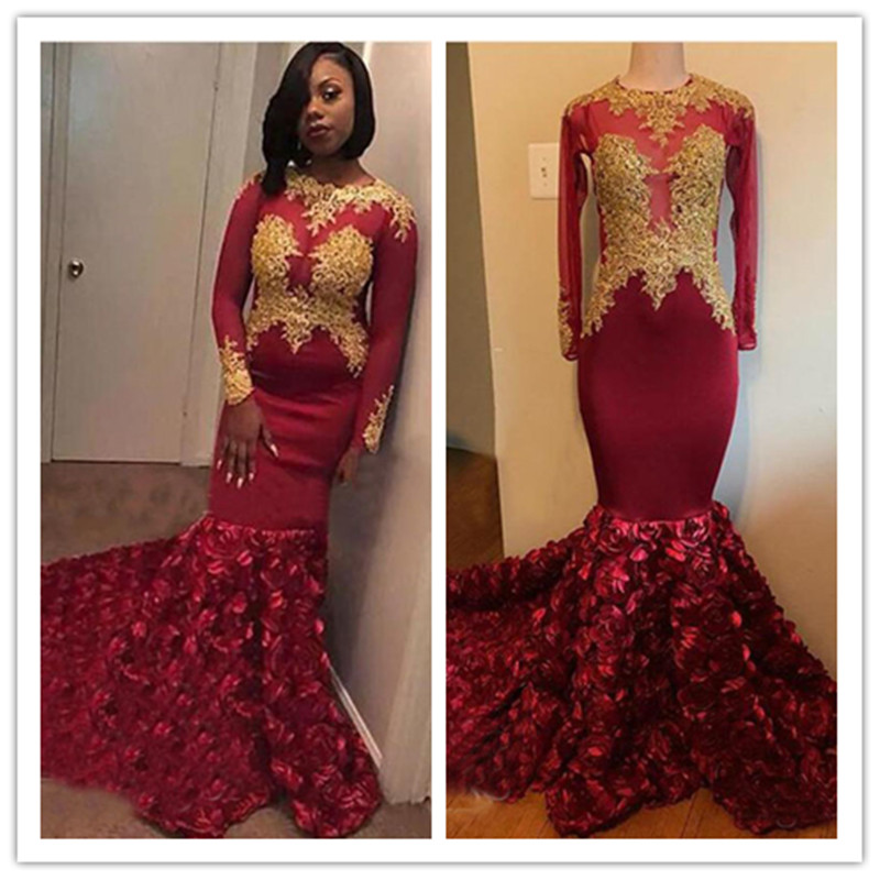 Burgundy Rose Flowers Mermaid   Prom     Dresses   2019 Gorgeous Gold Appliques Sheer Long Sleeves Lace Beads African Evening   Dress   Part