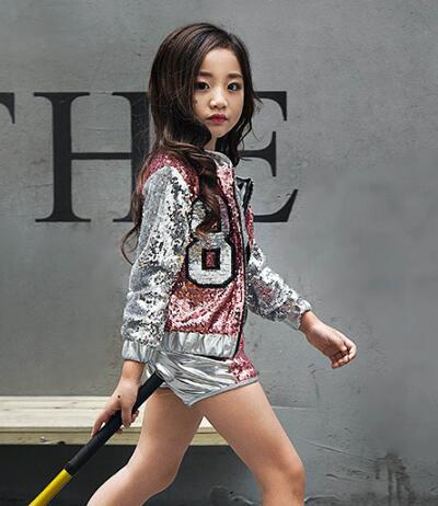 355e30a84 Children Girl hip Hop Jazz Costume Modern Ballroom Dance Wear Clothing Kids Sequined  Sports Clothes For