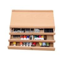 אמן עץ תיבת אחסון 1/2/3 מגירות לארגן כלים פסטל עט סמן