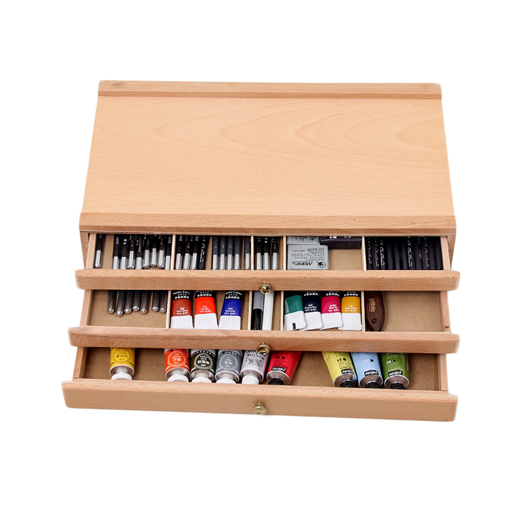 wooden artist storage box 1 2 3 drawers organize tools pastel pen marker in storage boxes bins. Black Bedroom Furniture Sets. Home Design Ideas