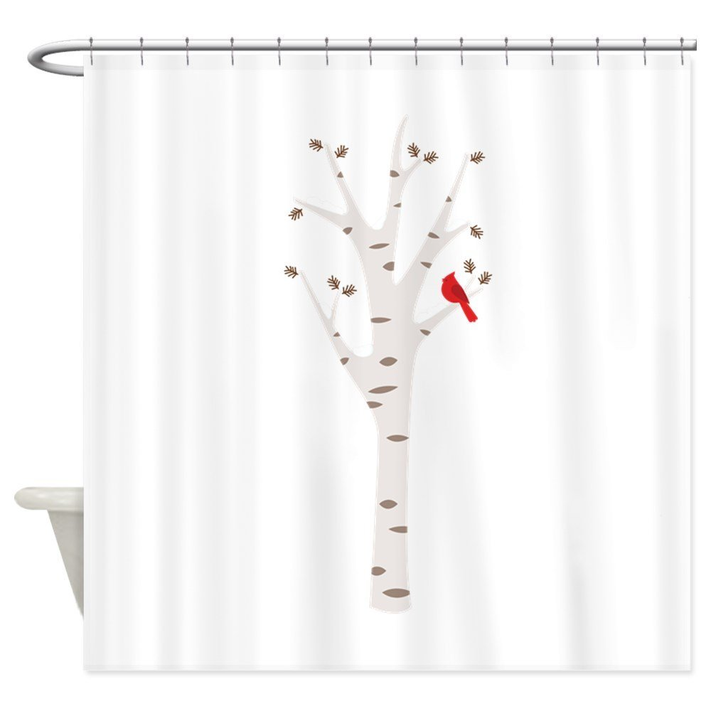 curtains fabric birch bird cardinal in house tree shower curtain set room rug slip from anti living winter decorative doormats for item