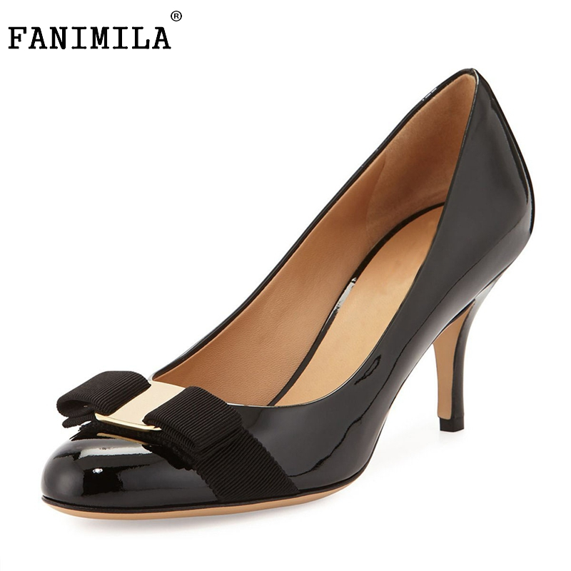 Women High Heel Shoes Fashion Patent Leather Pointed Toe Pumps Thin Heels Shoes Woman Sexy Bowtie Zapatos Mujer Size 35-46 B232 7 colors new sexy women pumps shoes high heels tacon alto bride wedding zapatos mujer pointed toe sweet bowtie women shoes