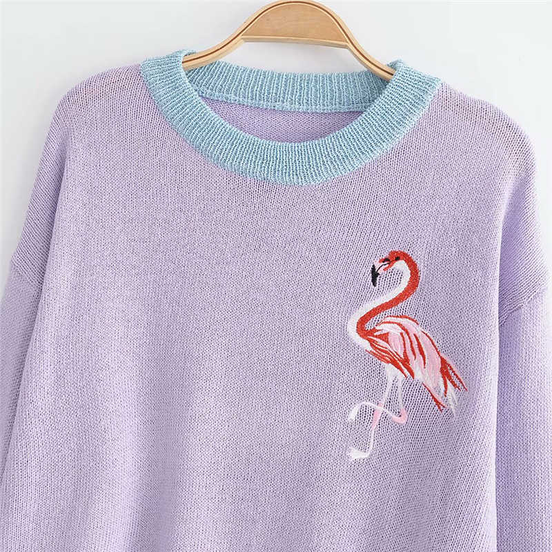 ... LUNDUNSHIJIA 2018 Autumn Winter Purple Blue Pink Sweaters For Women  Knitting Pullover Tops Flamingo Embroidery Female ... d6d870bec25a
