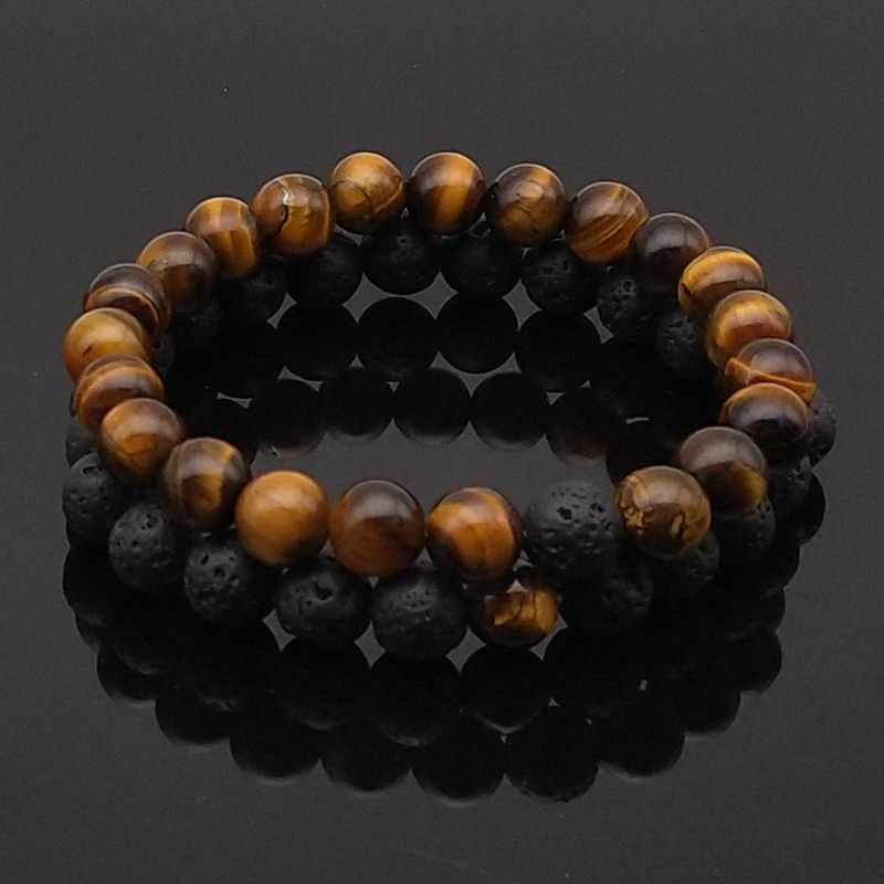 2pcs/set Matte Lava Stone Tiger Eye Natural Stone Bead Bracelet  Beaded Bracelet Couple Bracelets for Men Women Wish Jewelry